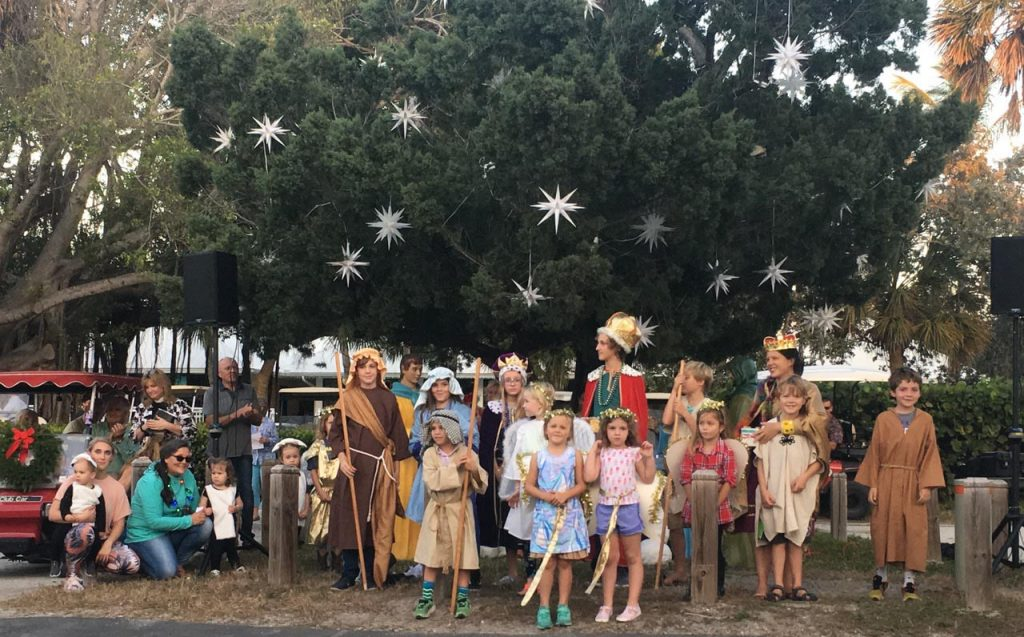 human nativity play with many kids