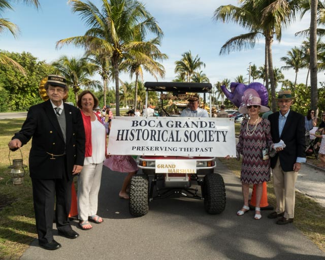 Boca Grande Historical Society Golf Cart and costumed members