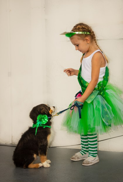 Little girl and puppy in matching green outfits