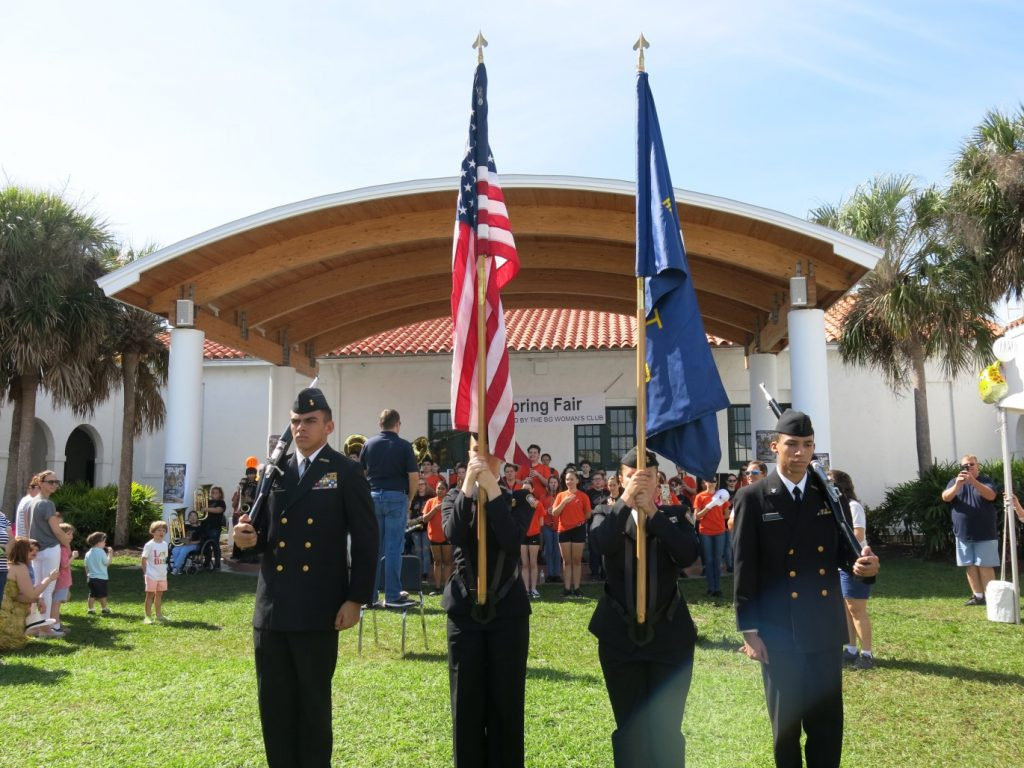 ROTC members holding flags at the Boca Grande Community Center