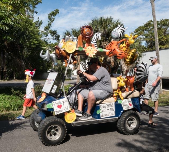 golf cart float with safari theme